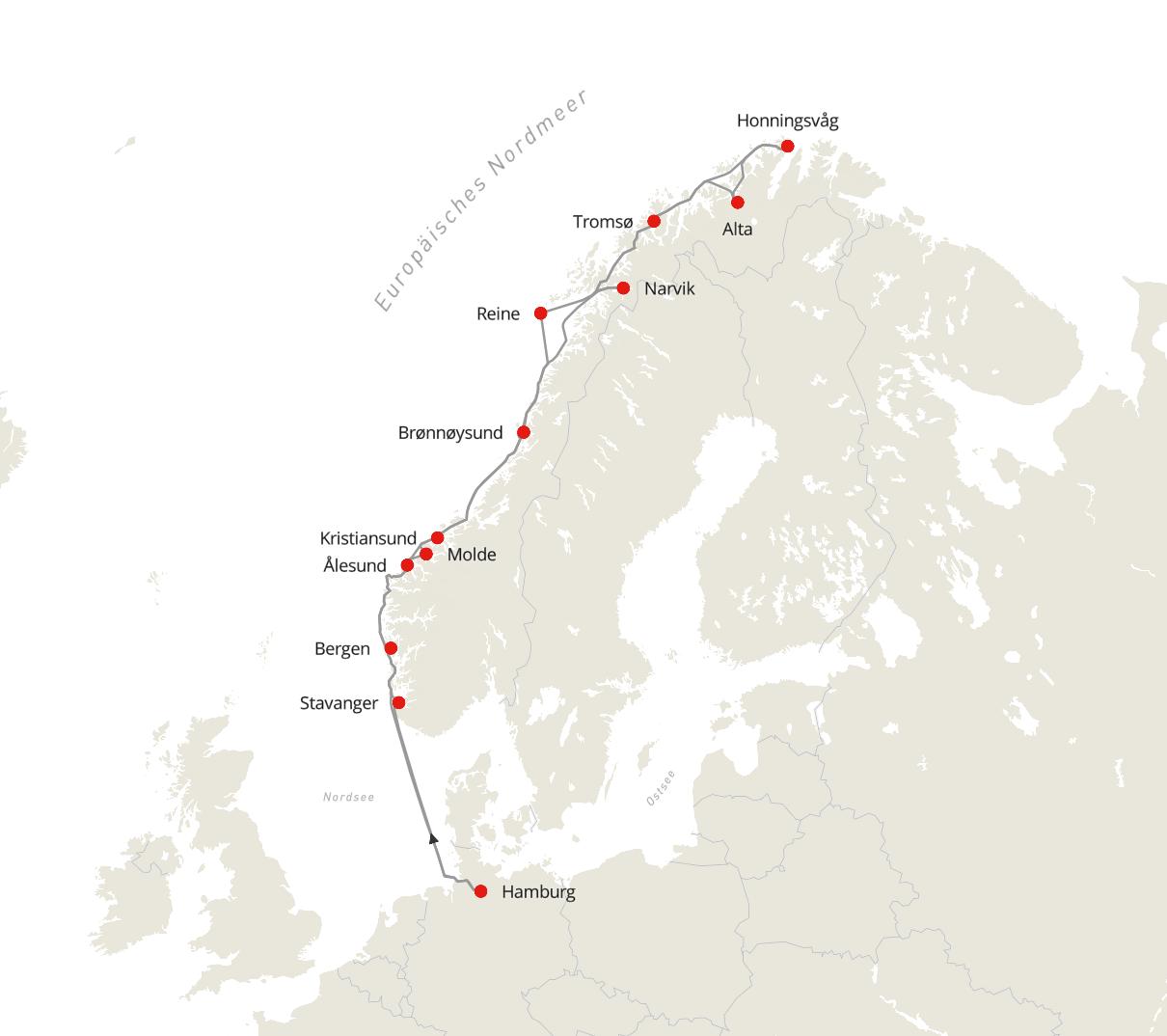 Norwegen Expedition - Auf den Spuren der Postschiffroute ab/bis Hamburg im Winter