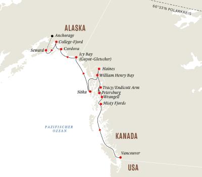 Alaska und Kanada – Wildnis, Gletscher und die Inside-Passage (Kurs Nord)