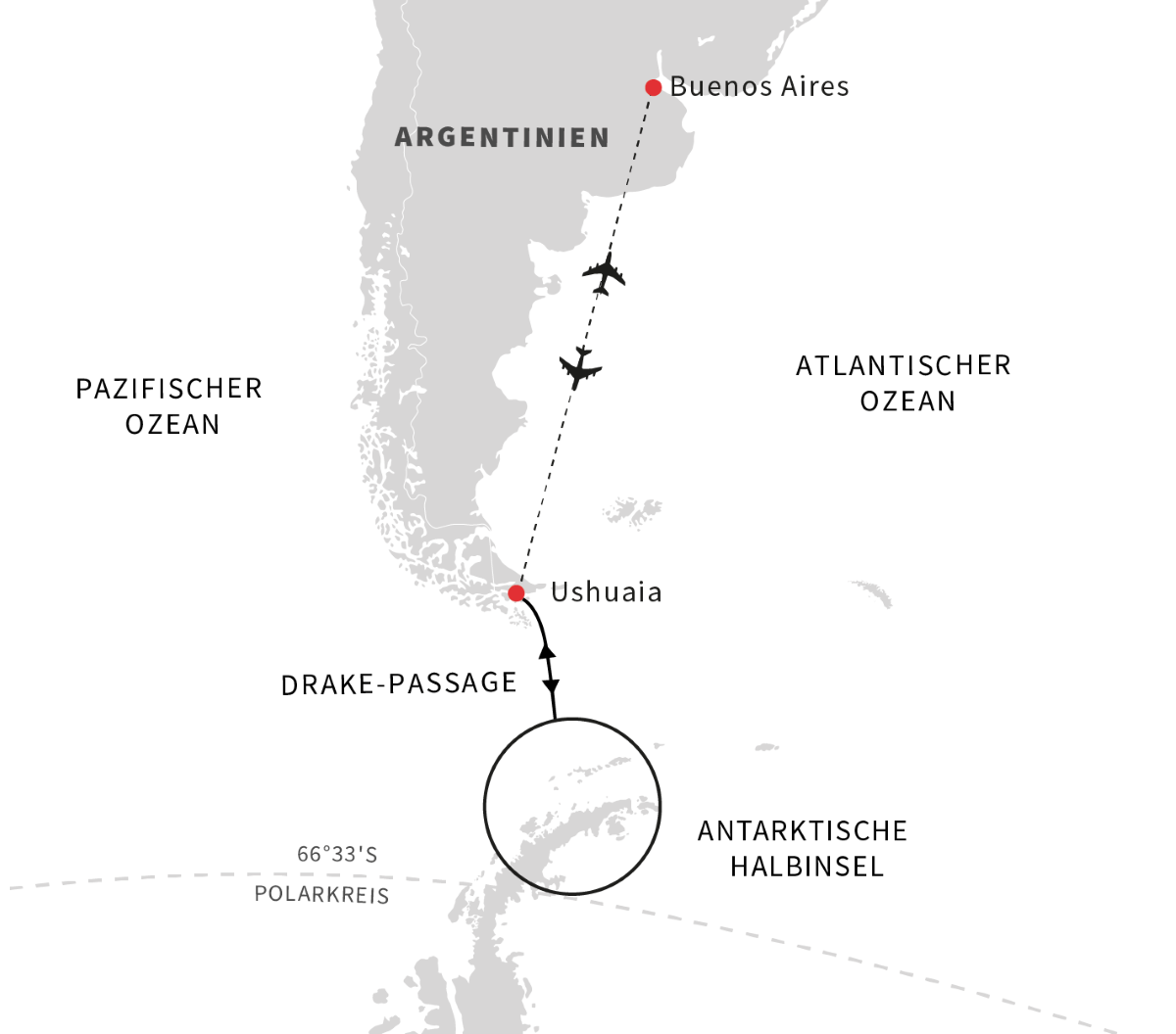 Hurtigruten Antarktis: Route Expedition 2022