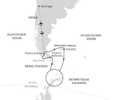 Entdeckungsreise Antarktis, Falklandinseln und chilenische Fjorde