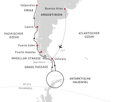 Expeditionsreise Patagonien und Antarktis - Kurs Nord