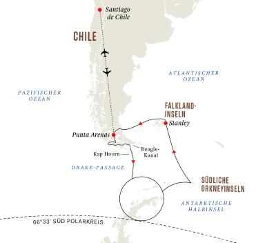 Entdeckungsreise Antarktis, Falklandinseln und chilenische Fjorde – Sonnenfinsternis