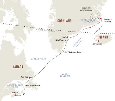 Grönland und Kanada – Die ultimative Expedition - Fjorde und Nationalparks (Route B)