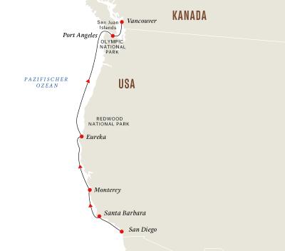 Westküste der USA– Höhepunkte und Nationalparks am Pazifik