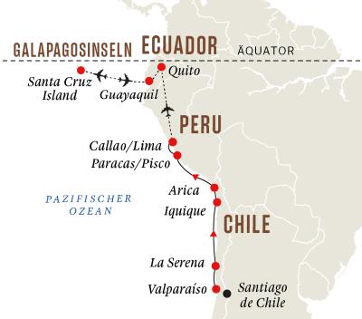 Die Küste Südamerikas mit Galápagos-Inseln