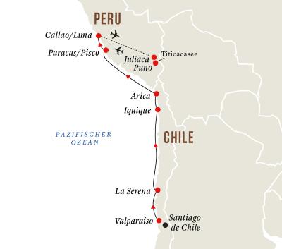 Die Küste Südamerikas mit Titicacasee