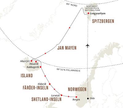 Färöer-Inseln, Island, Spitzbergen – Eine arktische Insel-Expedition (Route B)