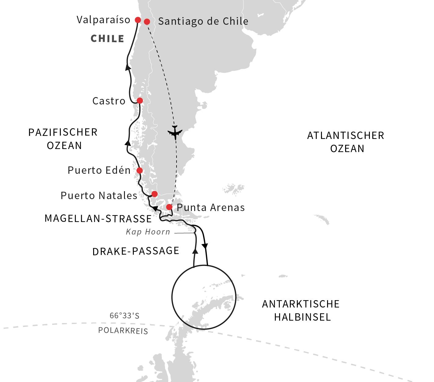 Entdeckungsreise Antarktis, Patagonien und chilenische Fjorde - Kurs Nord