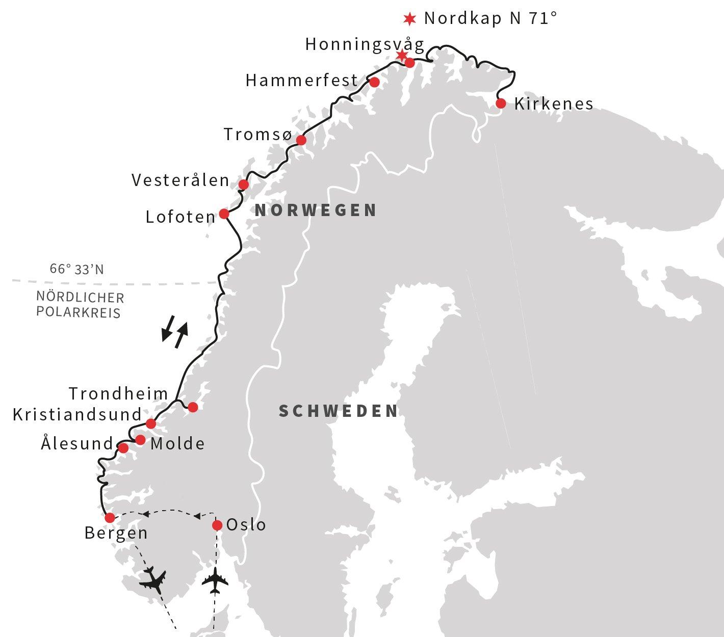 Maritimes Norwegen -  Hurtigruten und Telemarkkanal