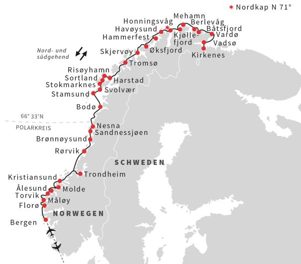 Karte Norwegen Hurtigruten.Nordlicht Und Sterne Hurtigruten Gruppenreise Hurtigruten