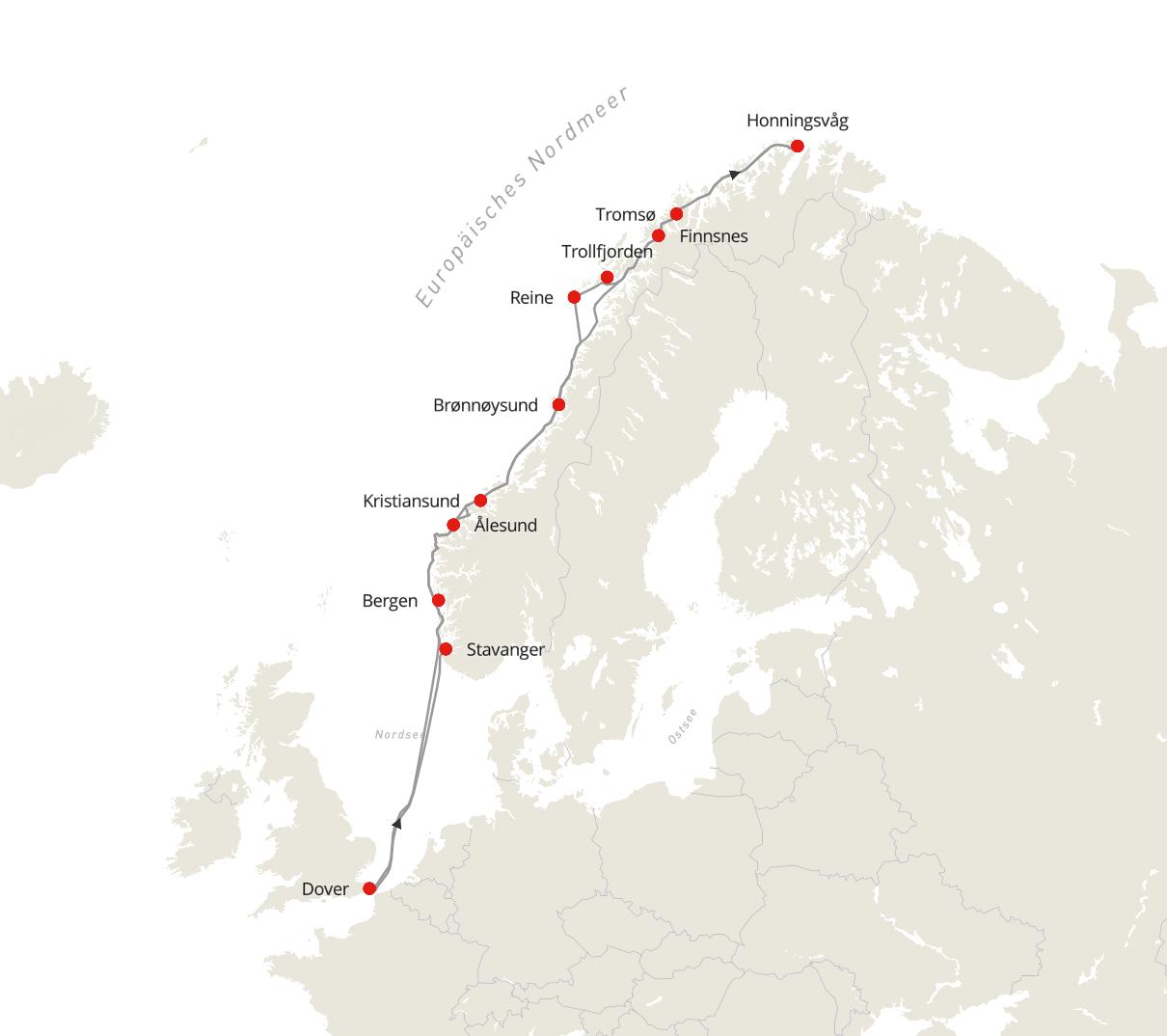 Norwegen Expedition – Nordlicht und Fjorde ab/bis Dover