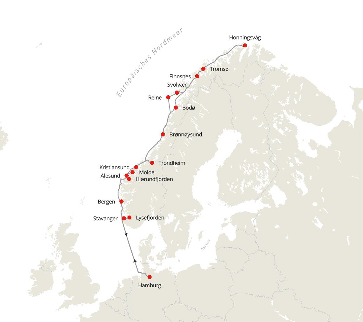 Norwegen Expedition - Auf den Spuren der Postschiffroute ab/bis Hamburg im Sommer